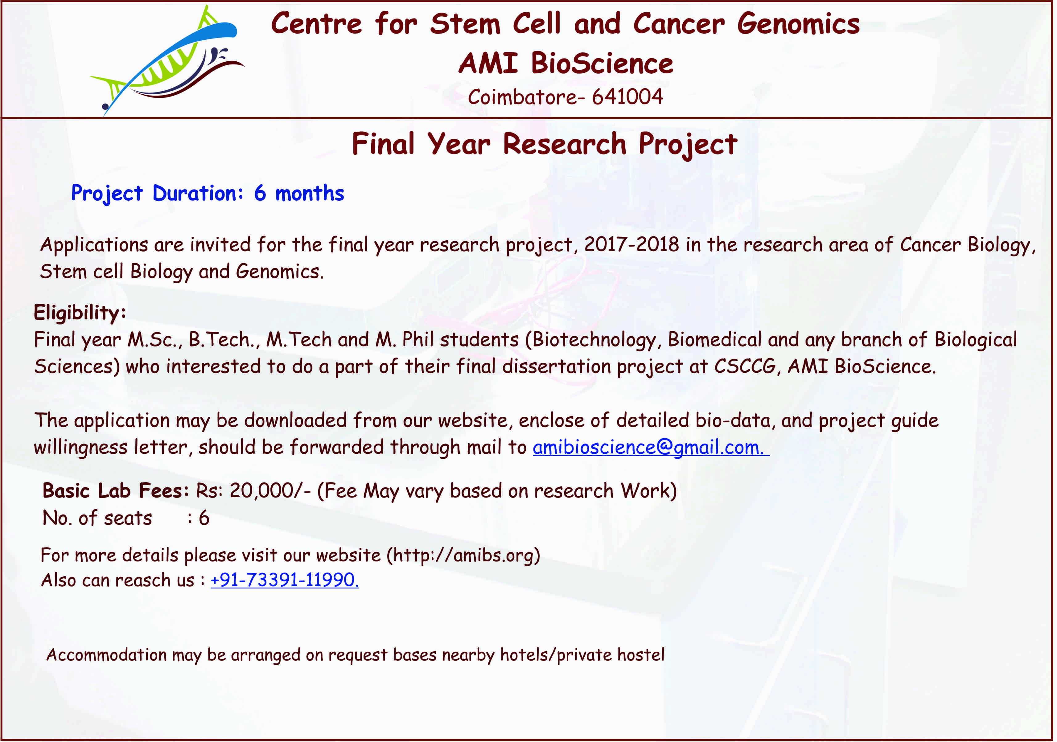 Centre For Stem Cell Cancer Genomicsami Bioscience Home